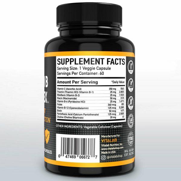 Vitamin B Complex Sustained Release Vitamin B1, B2, B3, B6, B12 Immunity 60ct 2