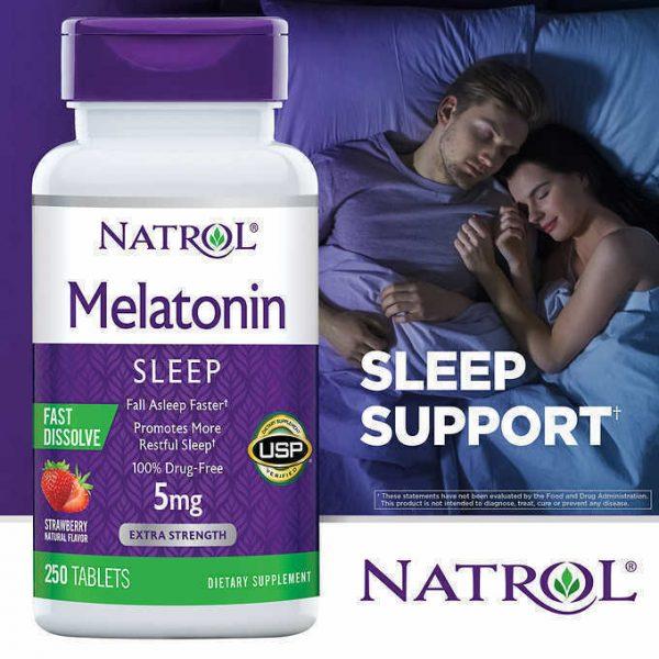 Natrol Melatonin 5mg Fast Dissolve Tablet for Sleeplessness - 250 Strawberry Tab 2