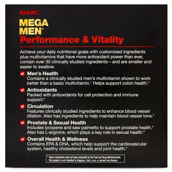 GNC Mega Men Performance & Vitality Vitapak Free Shipping 3