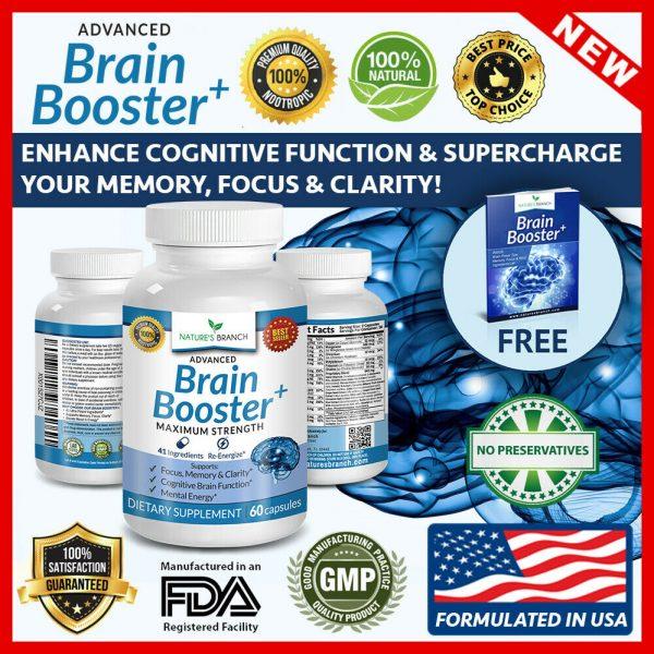 ADVANCED Brain Booster Supplement Memory Focus Mind & Clarity Enhancer Nootropic