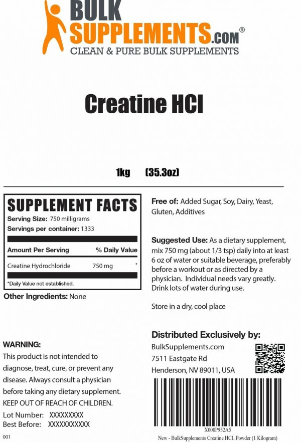 BulkSupplements.com Creatine HCl 4