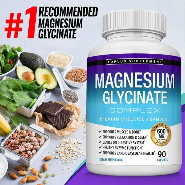 Magnesium Glycinate 525 MG Complex 90 Capsules125% DV High Absorption Magnesium  5