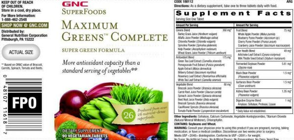 GNC SuperFoods Maximum Green Complete, 80 Tablets 2