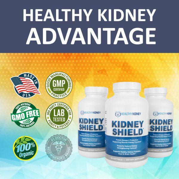 Kidney Shield Supplement Health Renal Detoxing Function Cleansing Omega 3  7