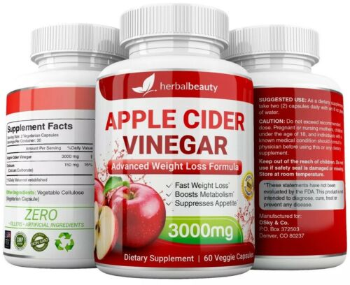 Herbal Beauty APPLE CIDER VINEGAR Pills 3000mg PURE WEIGHT LOSS 60 CAPSULES USA 4