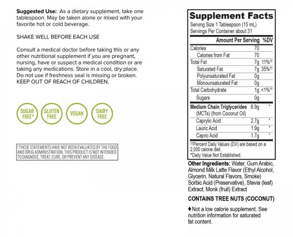 Emulsified MCT Oil - Almond Milk Latte (16oz) - Free Shipping 3