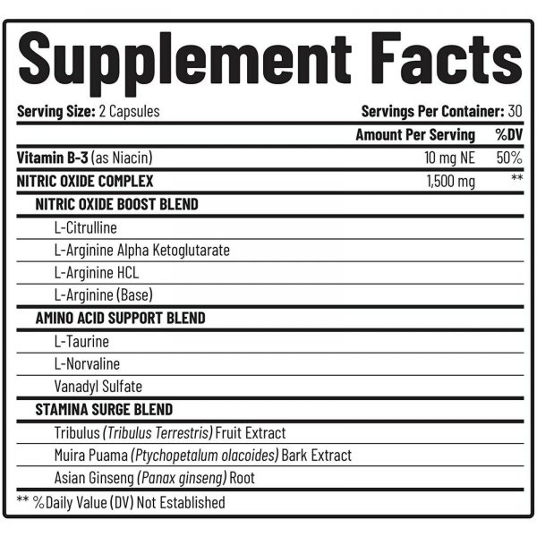 Nitric Oxide Booster Supplement 1500mg - Pre Workout, Muscle Growth - 60 Caps 4