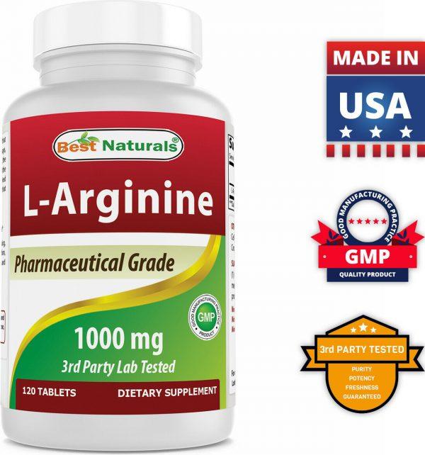 Best Naturals L-Arginine Tablet, 1000 mg, 120 Count  5
