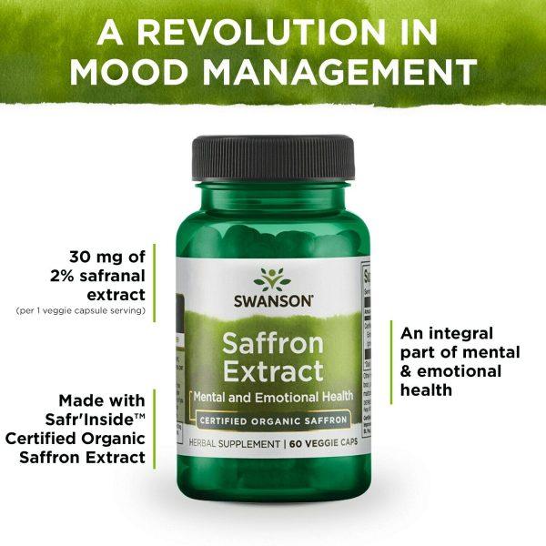Swanson Saffron Extract - Certified Organic Saffron 30 mg 60 Veggie Capsules 4