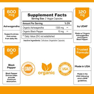 Organic Ashwagandha Capsules High Potency Supplement w/ Black Pepper Root Powder 1