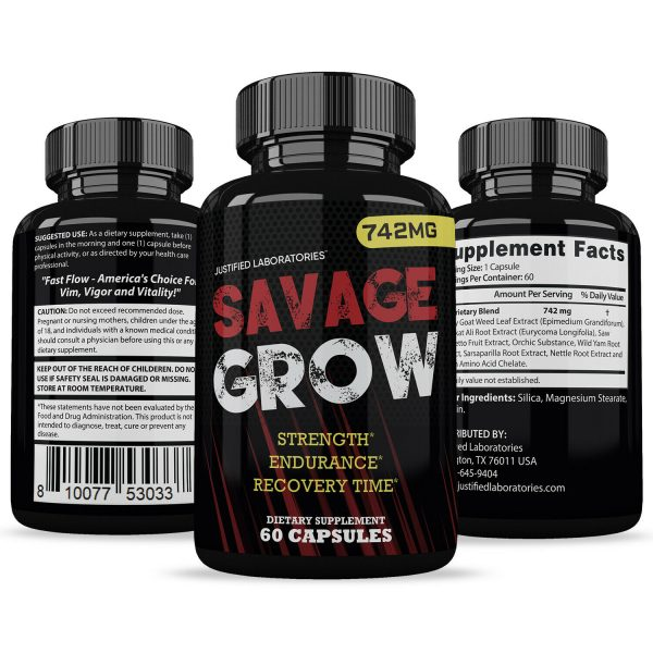 Savage Grow Natural Male Enhancement Increase Strength Stamina Energy 60 Caps 4