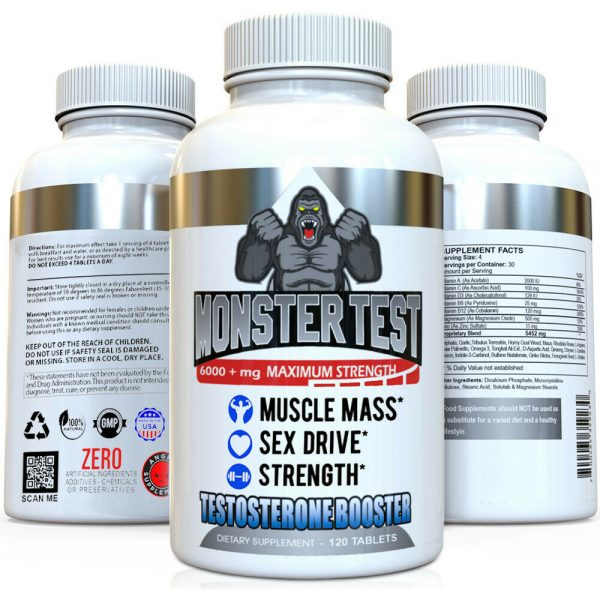 Testosterone Booster Monster Test with Tribulus for Men + Monster Test PM 2 Pack 2