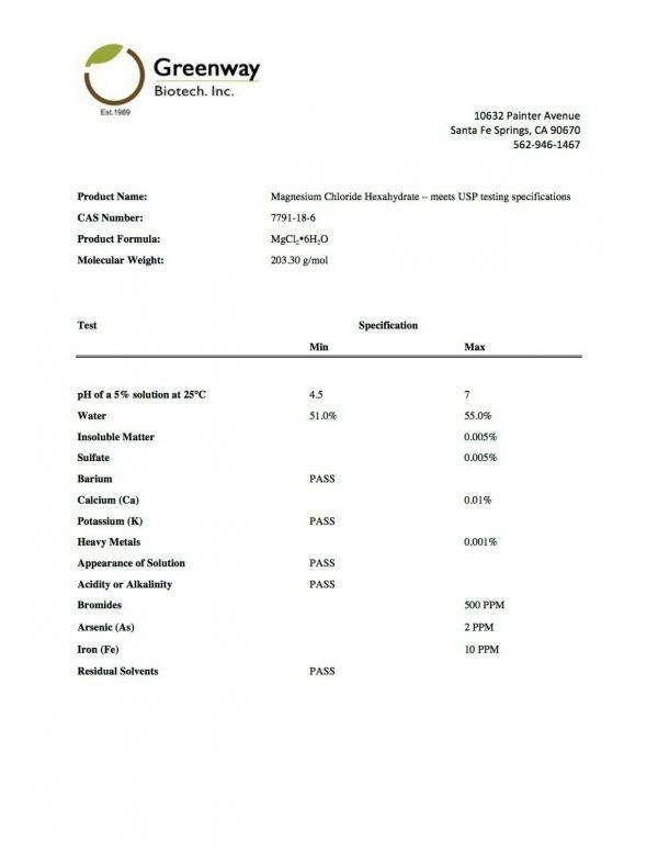 "Magnesium Chloride Pharmaceutical Grade 100% Edible ""Greenway Biotech"" 1 Pound 3"