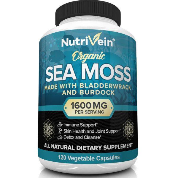 Nutrivein Organic Sea Moss 1600mg plus Bladderwrack & Burdock - Keto, Detox, Gut 3