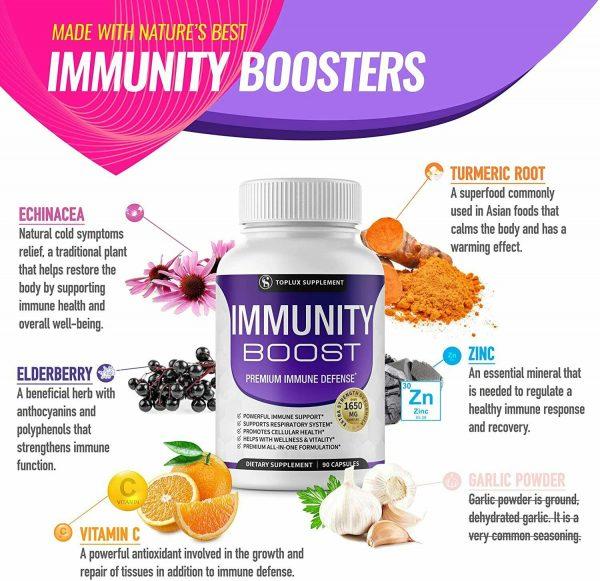 PREMIUM Immune System Booster (180 CAPSULE) Vitamin C +Zinc+Elderberry+Echinacea 4