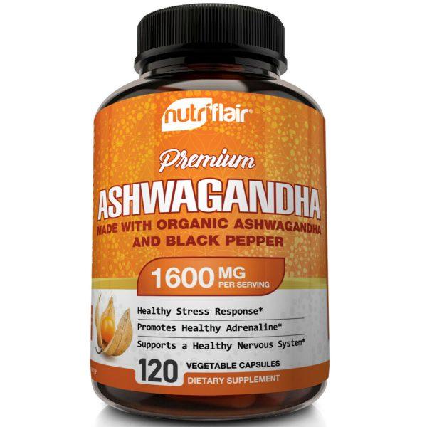 ☀ Organic Ashwagandha Capsules 1600mg 120 Capsules with Black Pepper Root Powder 1