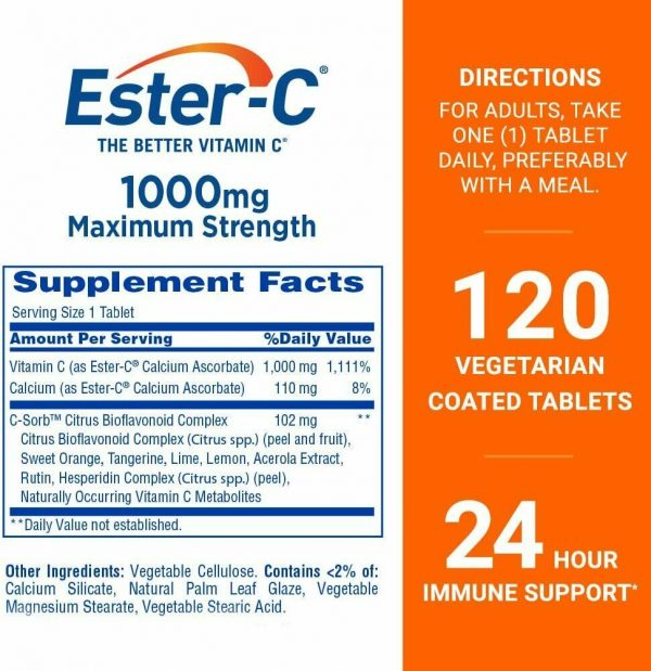 Ester-C Vitamin C 1000mg 120 Coated Tablet 24 Hour Immune Support NON-GMO 5