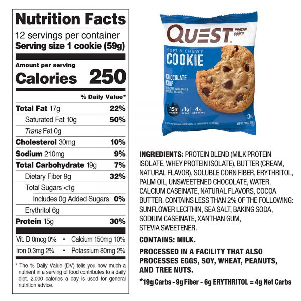 High Protein Cookies Quest 12 Pack 4 Flavors Low Carb Keto Friendly Gluten Free 2