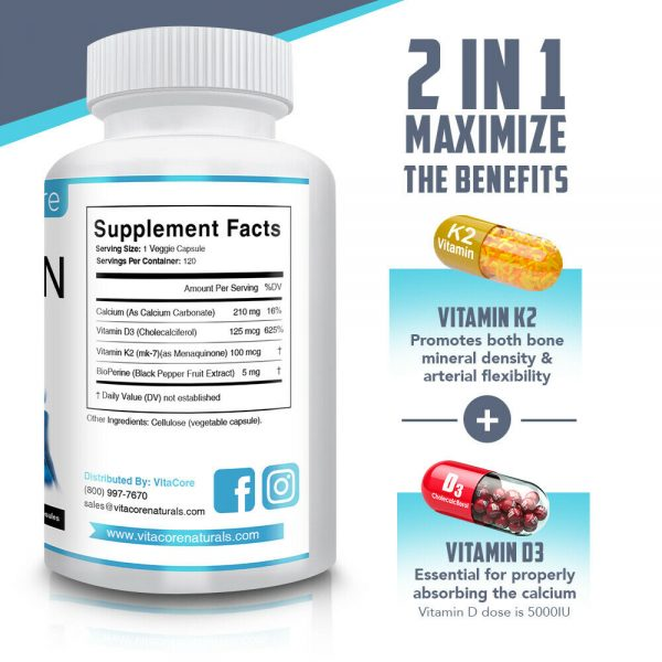 Vitamin K2 (MK7) with D3 5000 IU with Calcium, 120 Capsules ( 4 months supply ) 1