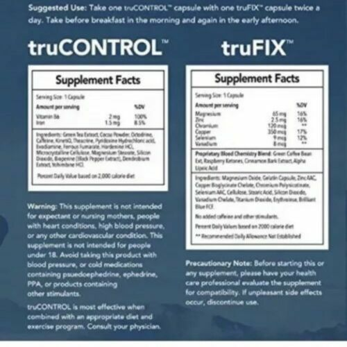 New & FRESH TruVision Health 2 Week Supply Weightloss TruFIX - TruCONTROL- 60 pk 5