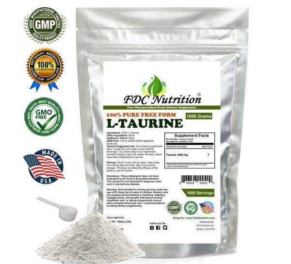 2.2lb (1000g) 100% PURE L-TAURINE FREE-FORM AMINO ACID POWDER USP GRADE