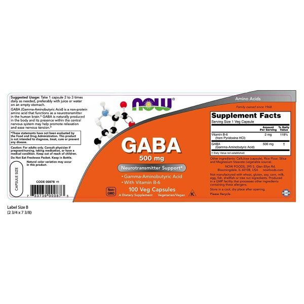 NOW Foods GABA 500 mg + B-6 100 VCap, Promotes Relaxation, FRESH, Made In USA 1