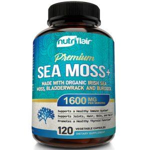 Organic Irish Sea Moss 1600mg Extract plus Bladderwrack & Burdock - 120 Capsules 1