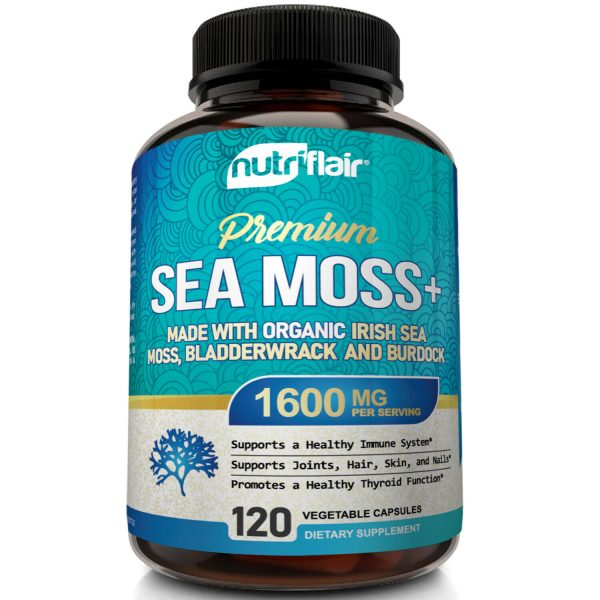 Organic Irish Sea Moss 1600mg Extract plus Bladderwrack & Burdock - 120 Capsules 1