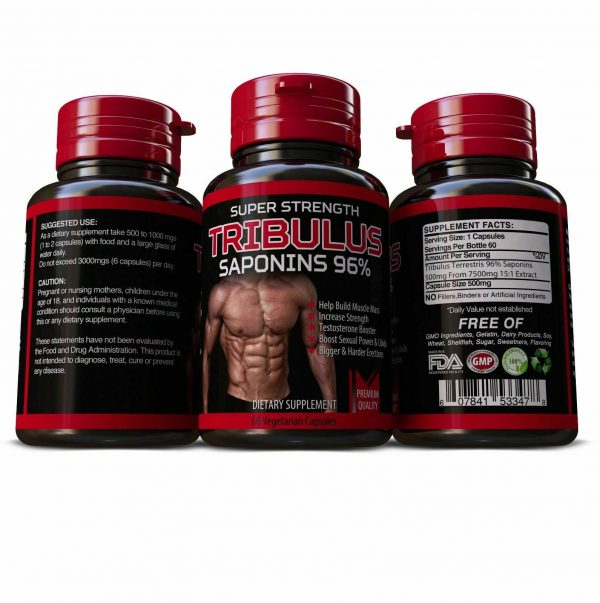 TRIBULUS TERRESTRIS 7500mg EXTRACT 96% SAPONINS BIG MUSCLE BODYBUILDING PILLS 1