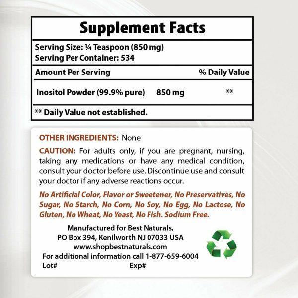 Best Naturals Inositol Pure Powder 1 Pound 2