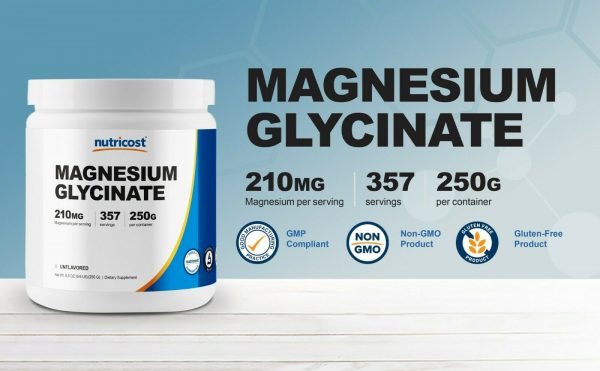 Nutricost Magnesium Glycinate Powder (250 Grams) (Unflavored) 2