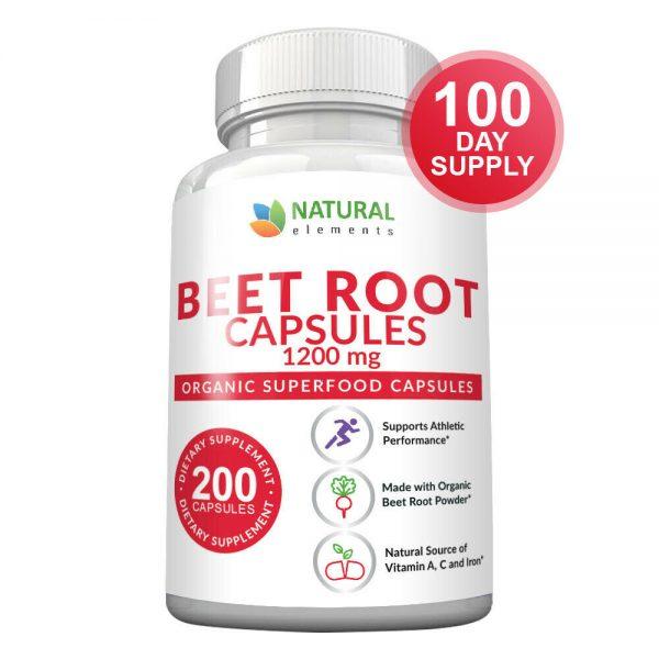 Organic Beet Root Capsules - 1200mg per serving - 200 Capsules - 3 Month Supply