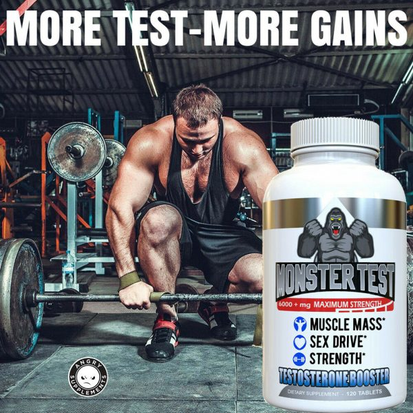 Monster Test Testosterone Booster w Tribulus All Natural For Men 6000mg w/ Zinc 7