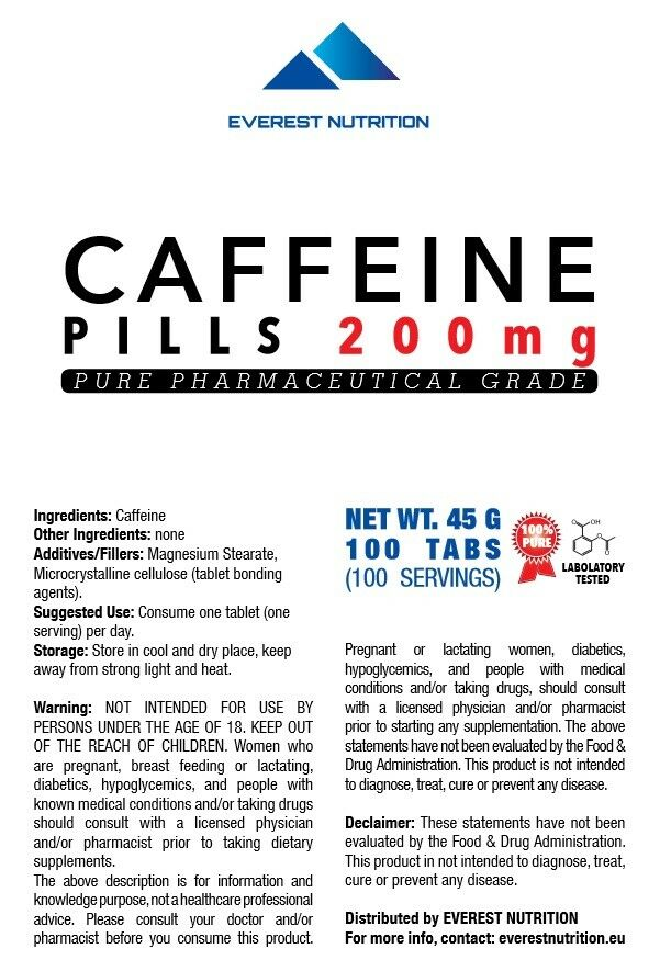 CAFFEINE 200mg EXTRA STRONG TABLETS PILLS 100% PHARMACEUTICAL QUALITY 1