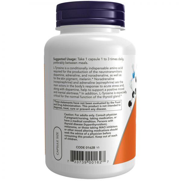 NOW L-Tyrosine 500 mg 120 Caps,Neurotransmitter Support,USP Phamaceutical Grade 2