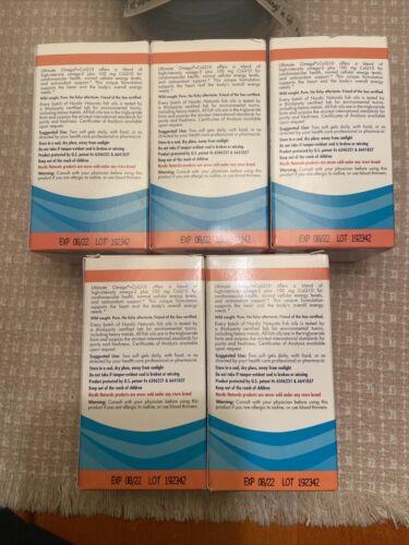 5 BOXS Nordic Naturals Ultimate Omega + CoQ10 soft gel 1280mg w/60 ea EXP 9/2022 1