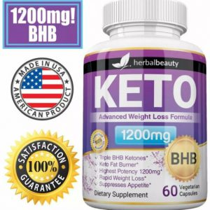 Herbal Beauty KETO BHB 1200mg PURE Ketone FAT BURNER Weight Loss Diet Pills 1
