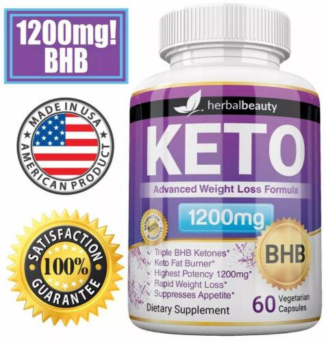 Herbal Beauty KETO BHB 1200mg PURE Ketone FAT BURNER Weight Loss Diet Pills 1