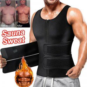 Mens Neoprene Sauna Sweat Vest Body Shaper Waist Trainer Fat Burner Shapewear US