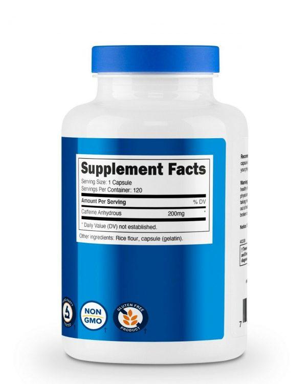 Nutricost Caffeine 200mg Pills, 120 Capsules, 120 Servings 4