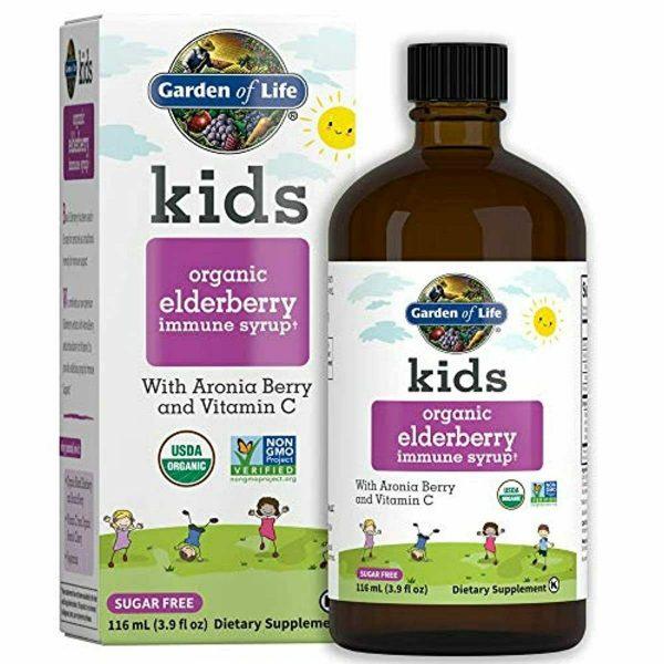 Garden of Life Kids Organic Elderberry Immune Syrup with Vitamin c for Immune Su