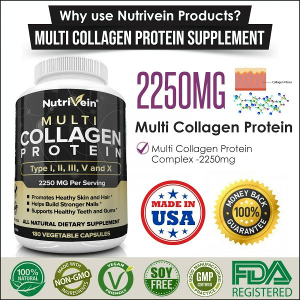 Nutrivein Multi Collagen Pills 2250mg - 180 Capsules - Hair, Skin, Nails, Bones 7