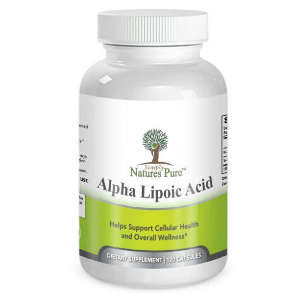 Simply Nature's Pure Alpha Lipoic Acid 600mg 120 veggie 4 month supply ALA R-ALA 1