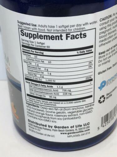 Garden of life Platinum Omega‑3 Fish Oil Orange Flavor 60 Ct Exp 2021+ 1812 2