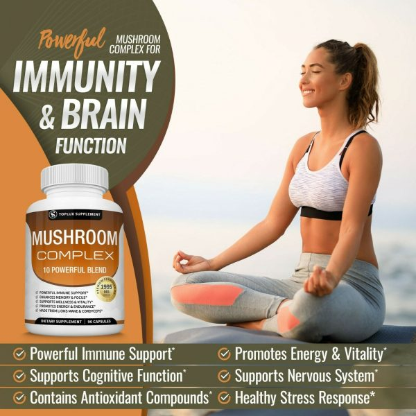 Mushroom Complex Supplement (2 Pack) +10 Mushrooms Lions Mane Reishi Pills 3