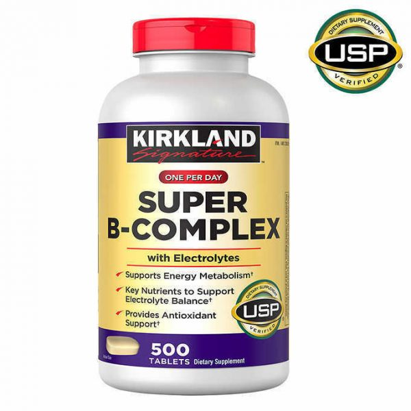 Kirkland Signature Super B-Complex with Electrolytes, 500 Tablets FREE SHIPPING