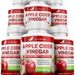 6 x Herbal Beauty APPLE CIDER VINEGAR Pills 3000mg WEIGHT LOSS 360 Capsules USA 1