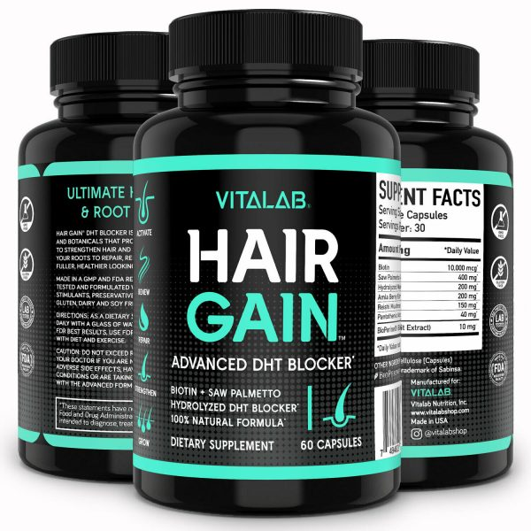 Hair Gain Biotin Hydrolyzed DHT Blocker Hair Growth Vitamins 10000mcg Women Men 4
