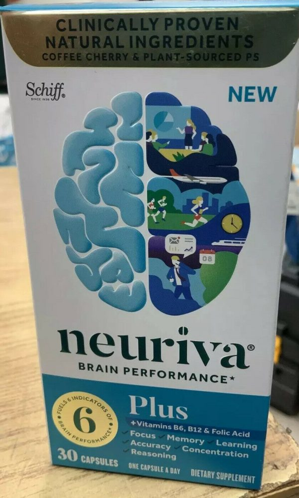 New Schiff Neuriva Brain Performance Plus Focus Memory 30 Capsules exp 05/2022