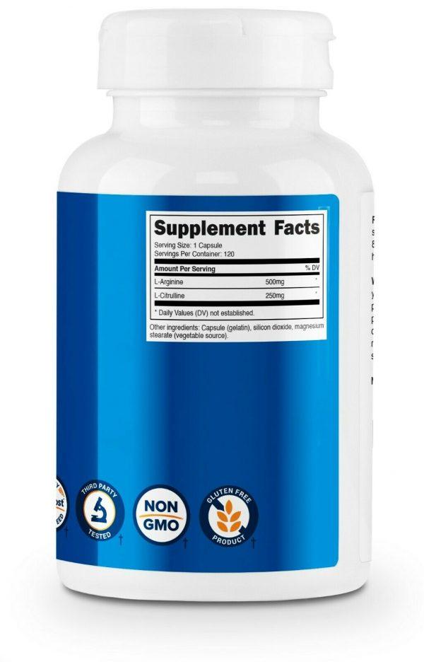 Nutricost L-Arginine L-Citrulline Complex 750mg, 120 Capsules - Non-GMO 3